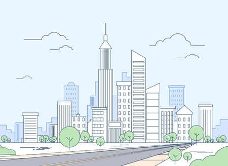 Illustration pour Road to Modern City View Skyscraper Cityscape Vector Illustration - image libre de droit