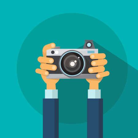 Illustration for Hands Holding Photo Camera Photography Flat Design Vector Illustration - Royalty Free Image