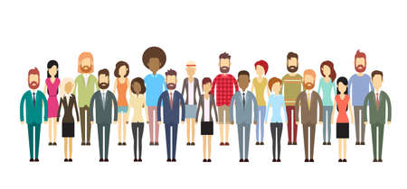 Illustration for Group of Business People Big Crowd Businesspeople Mix Ethnic Flat Vector Illustration - Royalty Free Image