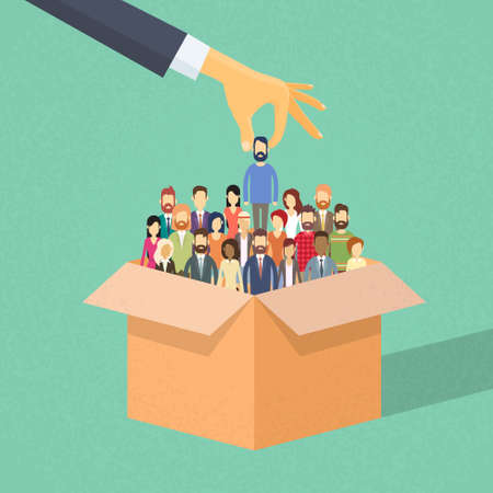 Recruitment Hand Picking Business Person Candidate from Box People Group Businesspeople Human Resources Crowd Flat Vector Illustration