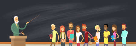 Illustration pour Student Group Over Blackboard With Professor, University Lecturer Education Pointer Vector Illustration - image libre de droit