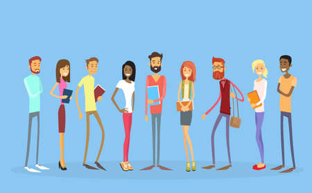 Illustration pour Student Group People Holding Books Education Flat Vector Illustration - image libre de droit