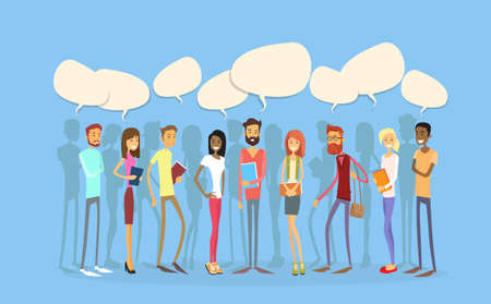 Illustration pour Students Group People Chat Bubble Social Network Communication Young Man Woman Full Length Stand In Line Flat Vector Illustration - image libre de droit