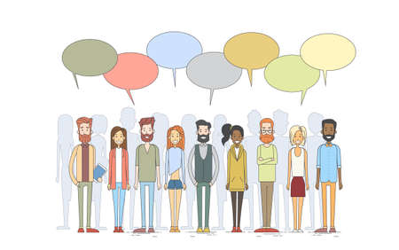 Illustration pour People Group Young Man Woman Hipster Casual Clothes Stand In Line Chat Box Vector Illustration - image libre de droit