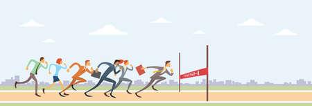 Ilustración de Business People Group Run To Finish Line Team Leader Competition Win Concept Flat Vector Illustration - Imagen libre de derechos