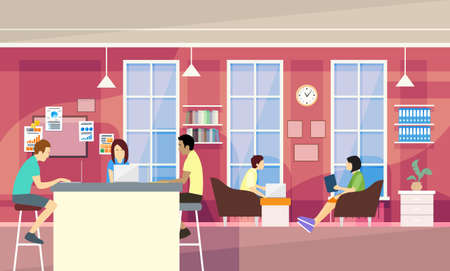 Illustration pour Casual People Group In Modern Office Sit Chatting, Students University Campus Vector Illustration - image libre de droit