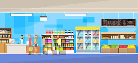 Illustration for Big Shop Interior, Sales Woman, People Customers Stand In Line Cash Desk Vector Illustration - Royalty Free Image