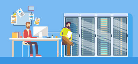 Ilustración de People Working Data Center Technical Worker Man Administrator Sitting Desk Hosting Server Database Flat Vector Illustration - Imagen libre de derechos