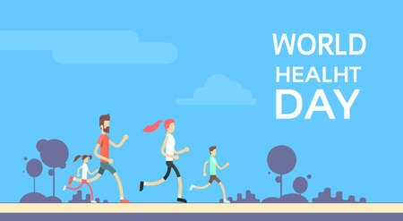 Foto de People Jogging Sport Family Fitness Run Training World Health Day 7 April Flat Vector Illustration - Imagen libre de derechos