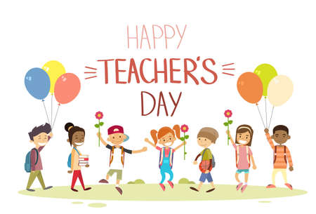 Illustration for Teacher Day School Children Group Hold Flowers Balloons Holiday Greeting Card Flat Vector Illustration - Royalty Free Image