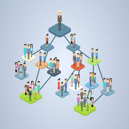 Illustration pour Business Company Structure Management Organization Chart Businesspeople Group People Team 3d Isometric Vector Illustration - image libre de droit