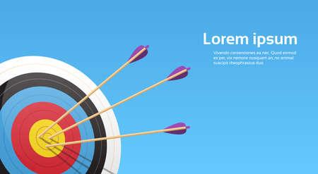 Illustration pour Archery Target With Arrows Archer Sport Game Competition Colorful Banner With Copy Space Vector Illustration - image libre de droit