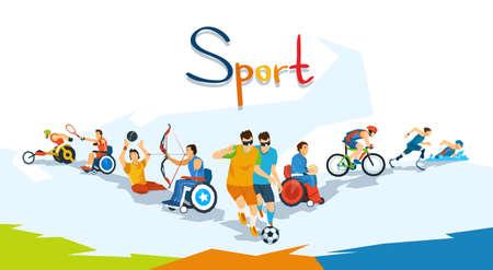 Illustration pour Disabled Athletes Sport Competition Banner Flat Vector Illustration - image libre de droit