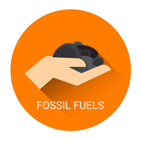 Fossil Fuels Hand Icon Flat Vector Illustration
