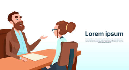 Businessman Sitting Office Desk Businesswoman Apply Job Interview Business People Candidate Flat Vector Illlustration
