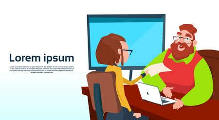 Businessman Sitting Office Desk Businesswoman Apply Job Interview Business People Candidate Flat Vector Illlustration