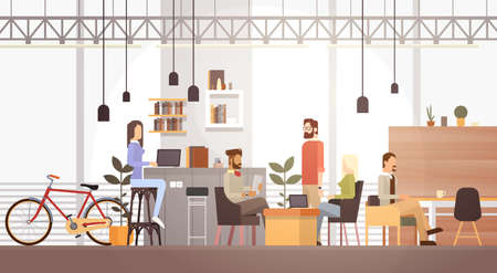 Illustration pour People In Creative Office Co-working Center University Campus Modern Workplace Interior Flat Vector Illustration - image libre de droit