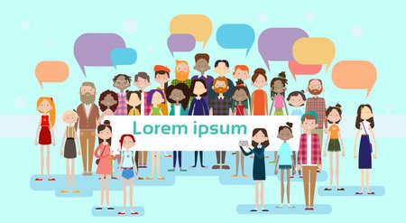 Illustration pour People Group Chat Bubble Communication Mix Race Crowd Social Network Flat Vector Illustration - image libre de droit