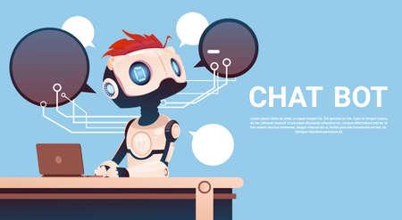 Illustration pour Chat Bot Using Laptop Computer, Robot Virtual Assistance Of Website Or Mobile Applications, Artificial Intelligence Concept Flat Vector Illustration - image libre de droit