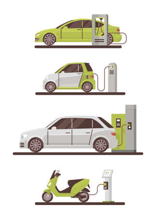 Illustration pour Electrical Cars And Scooters At Charging Station Eco Friendly Vehicle Set Flat Vector Illustration - image libre de droit