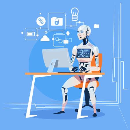Illustration pour Modern Robot Working With Computer Fixing Errors Futuristic Artificial Intelligence Technology Concept Flat Vector Illustration - image libre de droit