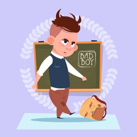 Small Bad School Boy Standing Over Class Board Hooligan Schoolboy Education Banner Flat Vector Illustration