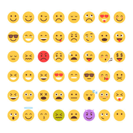 Illustration for Yellow Cartoon Face Set Emoji People Different Emotion Icon Collection Flat Vector Illustration - Royalty Free Image