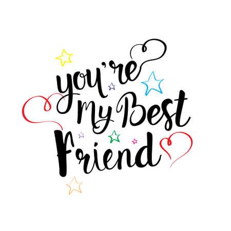 Illustration pour Happy Friendship Day Logo Greeting Card Friends Holiday Banner Flat Vector Illustration - image libre de droit