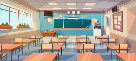 Illustration pour Empty School Class Room Interior Board Desk Flat Vector Illustration - image libre de droit