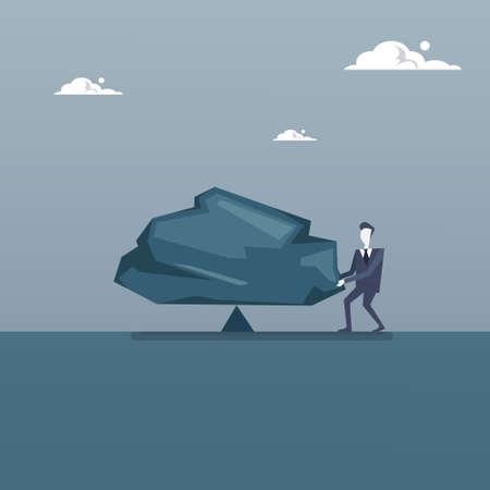 Business Man Balancing Big Stone Debt Loan Crisis Risk Concept Flat Vector Illustration