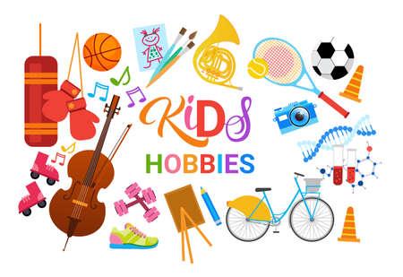 Illustration pour KIds Hobbies Art Classes Logo Workshop Creative Artistic School For Children Development Banner Flat Vector Illustration - image libre de droit