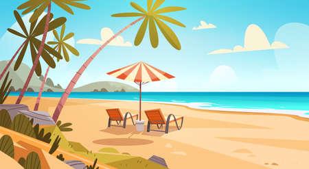 Ilustración de Summer Vacation Loungers On Sea Beach Landscape Beautiful Seascape Banner Seaside Holiday Vector Illustration - Imagen libre de derechos