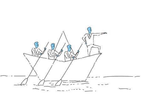 Illustration pour Businessman Leading Business People Team Swim In Paper Boat Teamwork Leadership Concept Vector Illustration - image libre de droit