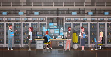 Illustration pour People Working In Data Center Room Hosting Server Computer Monitoring Information Database Flat Vector Illustration - image libre de droit
