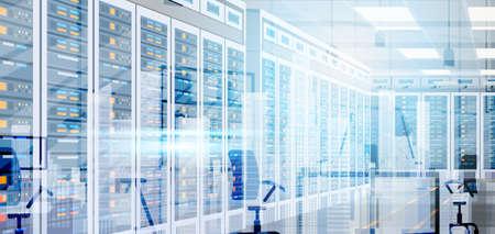 Illustration pour Data Center Room Hosting Server Computer Information Database Synchronize Technology Flat Vector Illustration - image libre de droit