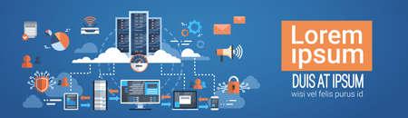 Illustration pour Data Center Cloud Computer Connection Hosting Server Database Synchronize Technology Vector Illustration - image libre de droit
