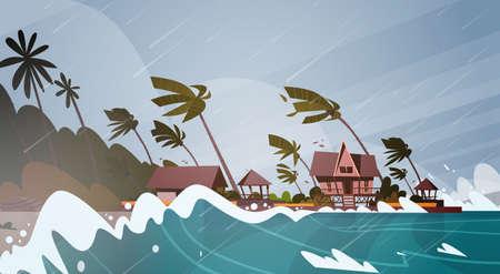 Illustration pour Tornado Incoming From Sea Hurricane. - image libre de droit