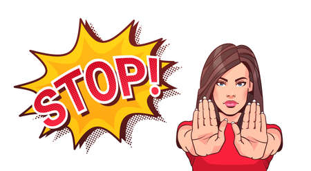 Illustration pour Woman Gesturing No Or Stop Sign Showing Raised Palms Vector Illustration - image libre de droit