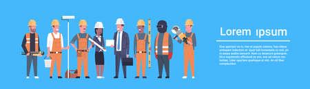 Illustration pour Costruction Workers Team Industrial Technicians Mix Race Man And Woman Builders Group Horizontal Banner Flat Vector Illustration - image libre de droit