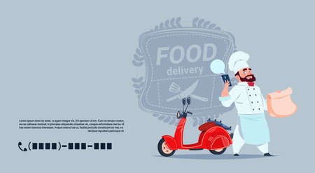 Illustration pour Food Delivery Emblem Concept Chef Cook Standing At Red Motor Bike Over Template Background Banner With Copy Space Flat Vector Illustration - image libre de droit