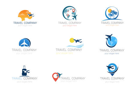 Ilustración de Travel Company Logos Set Template Tourism Agency Collection Of Banner Design Vector Illustration. - Imagen libre de derechos