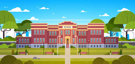 Illustration pour School Building And Empty Front Yard With Green Grass And Trees Landscape Flat Vector Illustration - image libre de droit