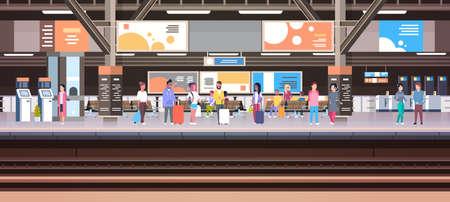 Illustration pour Train Station With People Waiting On Platform Holding Baggage - image libre de droit