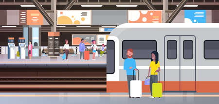Illustration pour Railway Station With People Passengers Going Off Train Holding Bags Transport And Transportation Concept Vector Illustration - image libre de droit
