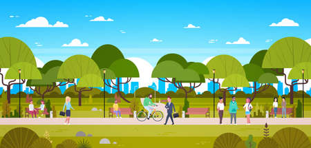 Illustration pour People In Park Relaxing In Urban Nature Over City Skyline Background Walking Riding Bicycle And Communicating Flat Vector Illustration - image libre de droit