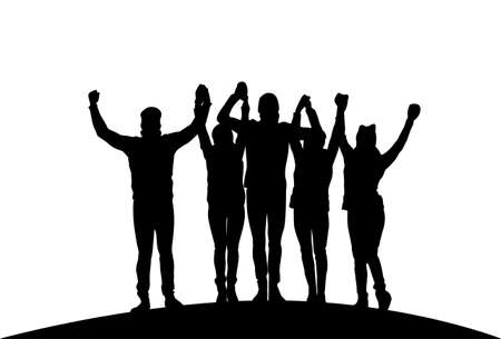 Illustration pour Group Of Businesspeople Holding Raised Hands Happy Successful Team Black Silhouettes Vector Illustration - image libre de droit