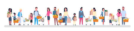 Illustration for Group of people holding paper bags flat illustration - Royalty Free Image