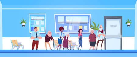 Group Of Patients Standing In Line To Doctors Office In Modern Hospital Or Clinic Flat Vector Illustration