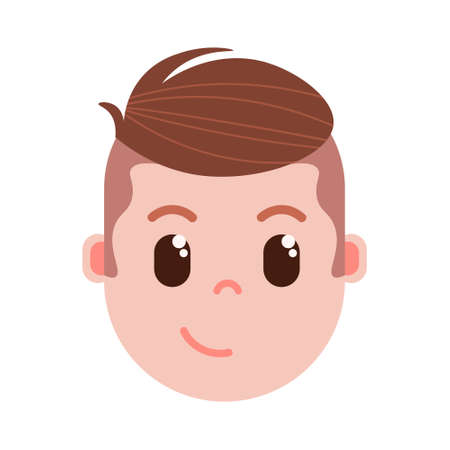 boy head emoji personage icon with facial emotions, avatar character, man cunning face with different male emotions concept. flat design. vector illustration