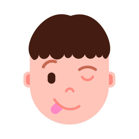 boy head emoji personage icon with facial emotions, avatar character, man show tongue face with different male emotions concept. flat design. vector illustration